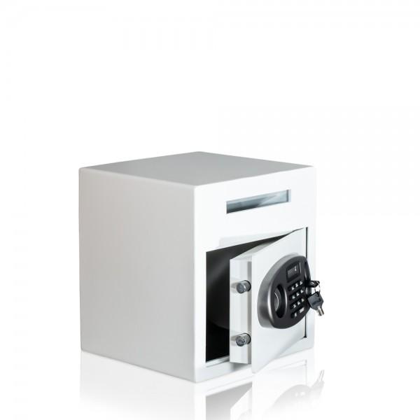 Einwurftresor-mit-Elektronik-Schloss-Weiß-Tresor-für-Fashionstore-oder-Restaurant
