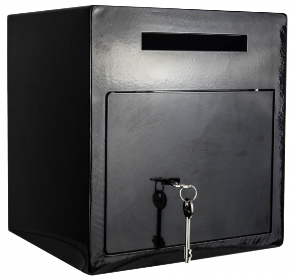 Einwurftresor | Schwarz |Tresor für Bar, Kneipe, Lounge | Schlüsselschloss